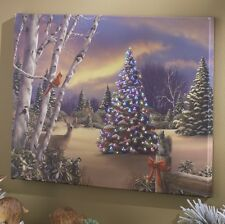 """3111354 RAZ 24"""" Forest Friends Christmas Tree Lighted Canvas Painting Picture"""