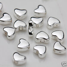 50Pcs Silver Plated Heart Loose Spacer Beads Charms Jewelry Findings DIY 5X6mm