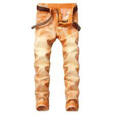 hombre naranja Biker Denim Pantalones Vaqueros Pitillo Elástico Corte Slim