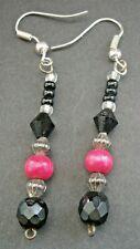 NR956*) VINTAGE PINK WOOD & FACETED JET BLACK GLASS BEADED DROP HOOK EARRINGS