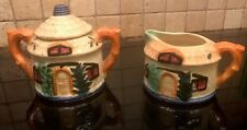 Vintage Thatched Cottage Ware Sugar & Creamer  Japan Pottery Circa 1929
