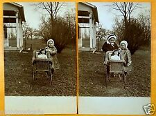 GIRLS WITH A LARGE DOLL IN A CARRIAGE 2 Photo Postcards c1909 Cranberry Creek NY