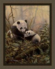 Panda Bear and Young Quilt Top Wall Hanging Panel Fabric Digital Print