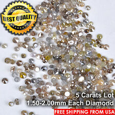 5 crts LOT 100% NATURAL Loose Round Single Cut Brown Scrap Diamonds 1.50-2.00mm
