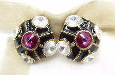 18KGP Rhombus Swarovski Element Austrian Crystal Rhinestone Clip On Earrings