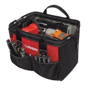 Husky 12 In Tool Bag Jobsite Storage Organizer Water Resistant Denier Black Red