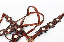 BROWN WESTERN SILVER SHOW LEATHER HORSE HEADSTALL BRIDLE BREASTCOLLAR TACK SET