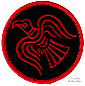ODIN RAVEN PATCH iron-on VIKING EMBLEM embroidered NORSE MYTHOLOGY NORWAY RED