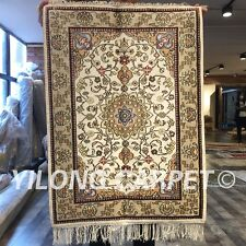Yilong 2'x3' Ivory Handmade Silk Carpet Classic Exquisite Handcraft Rugs W267C