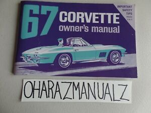 1967 Chevy Corvette Owner Owner's Owners Manual * REPRINT *