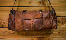 "25"" Real Brown Leather Gym Sports Bag Duffle Bag Luggage Bag AirCabin Travel Bag"
