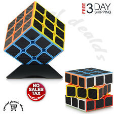 Magic Rubik's Puzzle ABS Carbon Fiber Speed Cube Twist Kid Gift 3x3x3 With Stand