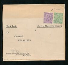 INDIA BOOK POST to BELGIUM OHMS LABEL on FRONT KG5th 2A + 1/2A