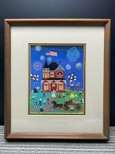 Vintage Framed Matted Print Fourth Of July by Joanne Case Windsor Art Products