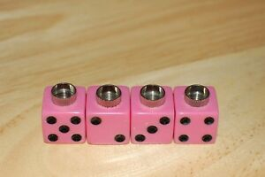 DUDDS DICE PINK w/BLACK DOTS VALVE STEM CAPS (4 PACK) FITS FORD, CHEVY #21