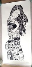 Mike Giant XL Pinup Woman Girl Graffiti Tattoo Art Silkscreen Poster Print
