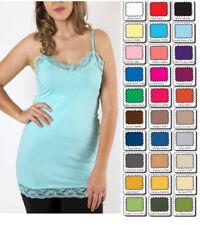 Plus Size Lace Tank Top Cami Camisole Zenana Long Spaghetti Strap XL/1X/2X/3X