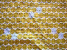 VINTAGE COTTON POLY PRINT FABRIC modern dots UPHOLSTERY gold mustard ivory