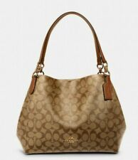 NWT Authentic Coach Hallie Shoulder Bag In Signature Canvas with leather F80298❣