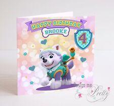 Paw PATROL Everest cartolina Di Compleanno-Bambino Ragazzi Ragazze 2 3 4 5 6 7 8 9