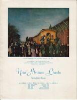 Vintage HOTEL ABRAHAM LINCOLN Springfield Illinois Restaurant Menu