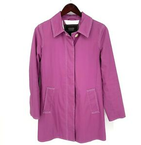 Coach Women's Trench Rain Coat Fuchsia Pink Signature Lined Button Jacket Size S