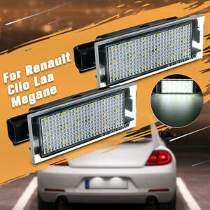 Pair LED Licence Number Plate Light For Renault Clio Laguna Master Megane MK2