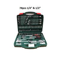 """78pcs 1/4"""" & 1/2"""" Socket Wrench Socket Set Drive Ratchet Wrench Kit Box Tool Unb"""