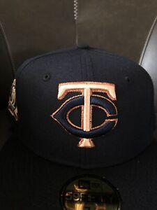 Minnesota Twins 60th Seasons Navy Peach Brim New Era Fitted Hat