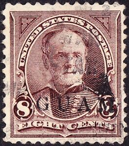 Guam - 1899 - 8 Cents General William T. Sherman #7 w Clear Straight Line Cancel