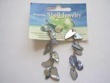 Blue shell charm 7 cm drop chain hook earrings
