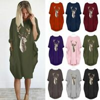 Womens Deer Printed Long Sleeve Midi Dress Ladies Pockets Casual Baggy Tops