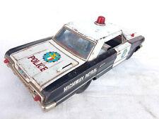 Rare Vintage Battery Highway Patrol Police Trademark Litho Big Car Tin Toy JAPAN