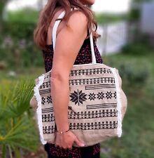 Cabas panier Sac à main Toile de jute Ethnique Vintage sac de plage aztèque
