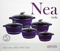 5pc Ceramic Coated Non Stick Die-Cast Casserole Set INDUCTION Cookware PURPLE SH