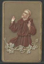 Holy card con relieve antique de San Francisco de Asis santino image pieuse
