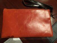 SHIRALEAH Chicago Orange/Brown VEGAN LEATHER Zip Clutch Purse Retail $58
