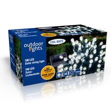 100 er LED Solar Lichterkette Garten Außen Innen Licht Kaltweiß 11,5m