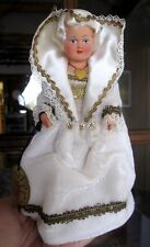 """Vintage PHILIPPE Costume DOLL Celluloid 7"""" with tag White Dress/Hair Gold trim"""