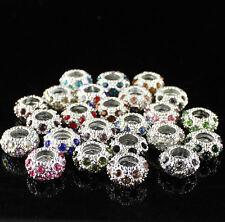 20pcs Mixed Color Czech Crystal Silver Spacer Charm Beads Fit European Bracelet