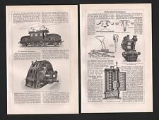 Lithografie 1925: elektrische EISENBAHNEN. Eisenbahn Lokomotive Wagen Bahnhof