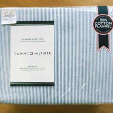 Tommy Hilfiger BLUE Ithaca Stripe *QUEEN FLANNEL SHEET SET Coastal Oxford Cotton