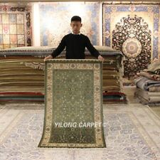 YILONG 3'x5' Green Hand-knotted Silk Carpet High Density Bedroom Area Rug 297H