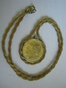 """Gold Plated 1880 O Morgan $ Screw Bezel Pendant, Fancy Twisted Rope 24"""" Necklace"""