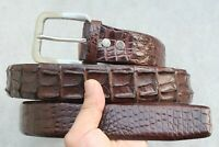 Dark Brown Genuine Alligator , CROCODILE Leather Skin Men's Belt - W 1.5 inch
