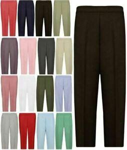 Womens 3/4 Length Stretch Elasticated Waist Trousers Ladies Capri Cropped Pants