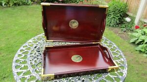 NWOT Pair of Wooden Serving Trays with Brass Details to Corners and Centre