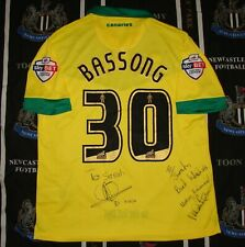 Signed Norwich City Home Football Shirt Jersey Errea 2014 2015 Bassong