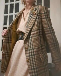 VTG 80/'s  Equestrian Western Fitted Blazer  Brown Wool Tweed  Size SM  Fully Lined