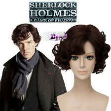 Dark Brown Curly Short Wig for Sherlock Season 4 Sherlock Anime Cosplay Wig +Cap